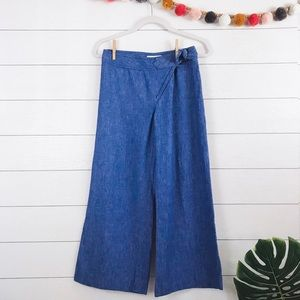 Anthropologie • Elevenses Chambray Linen Culottes
